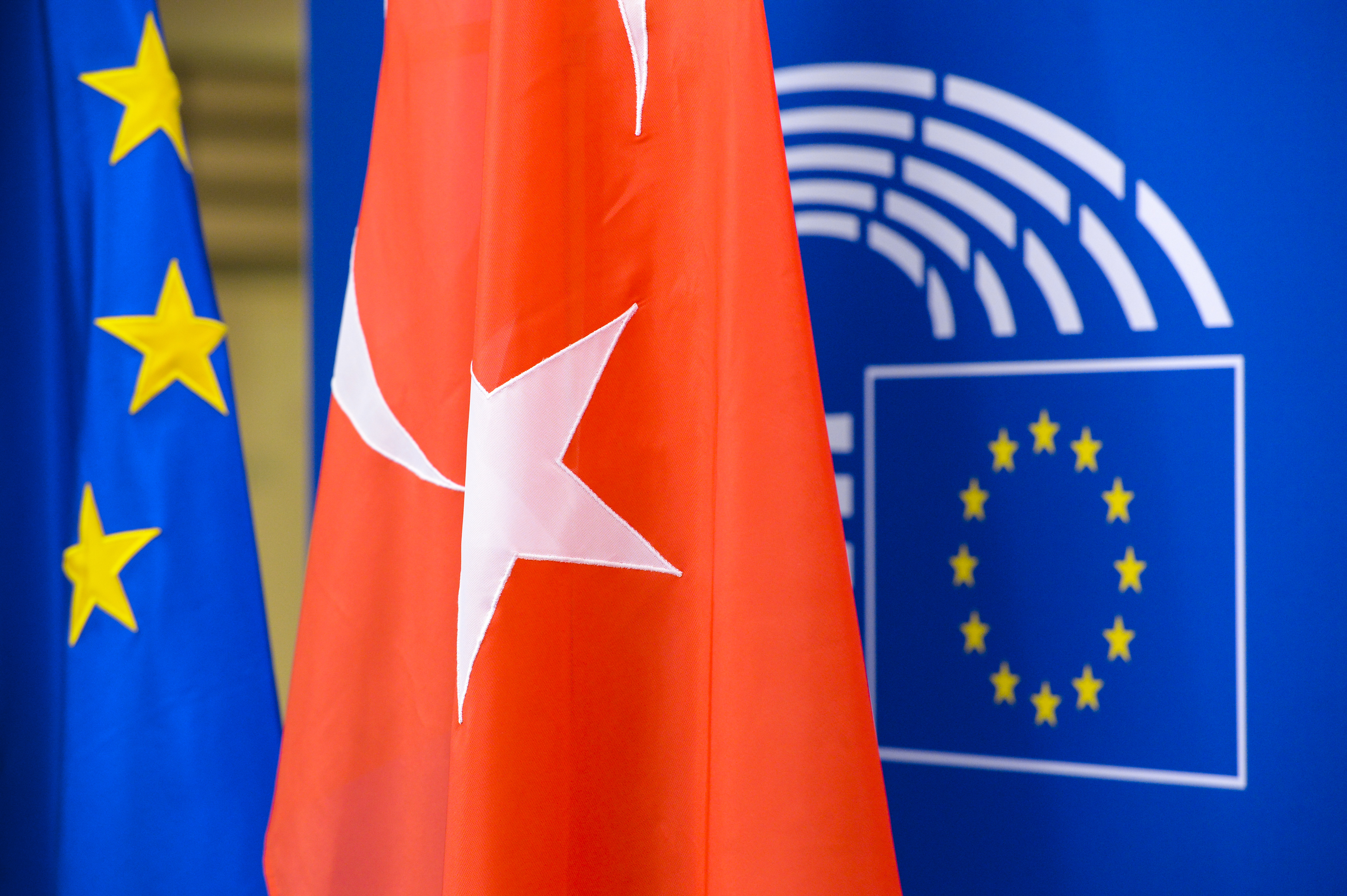 European flag and Turkish flag